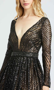 Mac Duggal - 67103H Sequined Deep V Neck Ballgown In Black