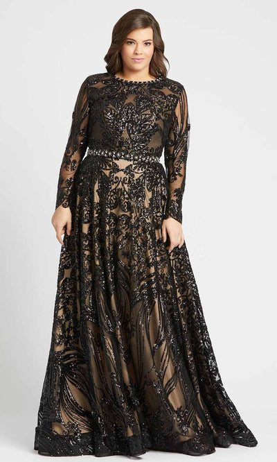 Mac Duggal - 67148F Long Saelee Sequin-Ornate A-Line Gown In Black