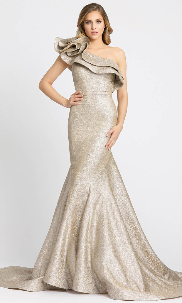 Mac Duggal - 67284M One Shoulder Mermaid Gown With Train In Neutral