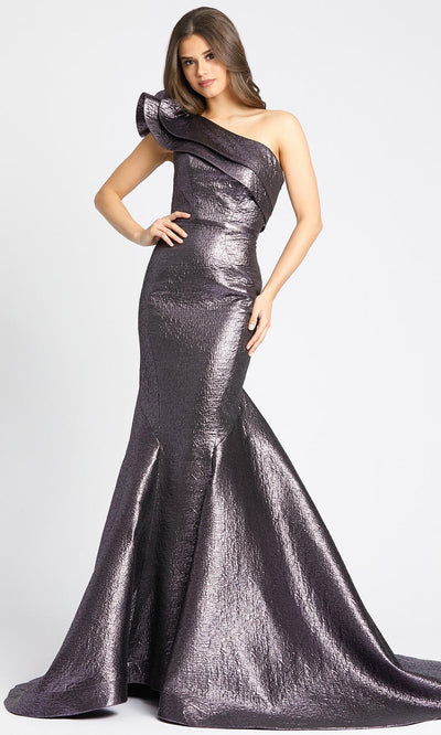 Mac Duggal - 67284M One Shoulder Mermaid Gown With Train In Purple