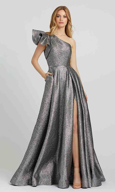 Mac Duggal - 67297M One Shoulder Metallic A-Line Gown In Silver