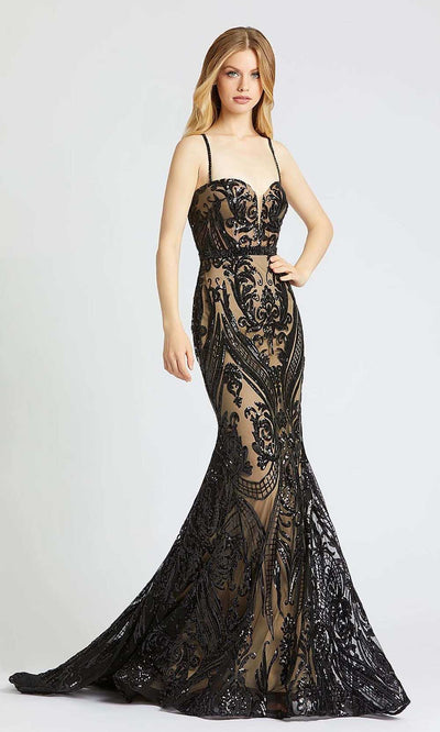 Mac Duggal - 67353M Sequined Sweetheart Bodice Trumpet Gown In Black