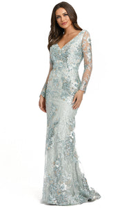 Mac Duggal - 67539D Embroidered Long Sleeve V Neck Gown In Green