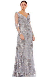 Mac Duggal - 67539D Embroidered Long Sleeve V Neck Gown In Silver