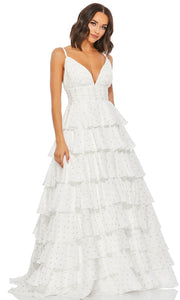 Mac Duggal - 67564M Printed Fabric Tiered Long Dress In White