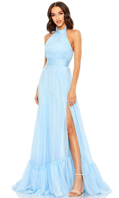Mac Duggal - 67816M Open Back High Halter Chiffon Dress In  Blue