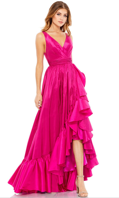 Mac Duggal - 67835M Taffeta V Neck High Low Gown In PInk