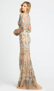 Mac Duggal - 79222D Floral Embroidered Long Sleeve Trumpet Dress In Neutral and Multi-Color