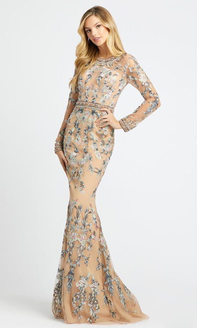 Mac Duggal - 79222D Floral Embroidered Long Sleeve Trumpet Dress