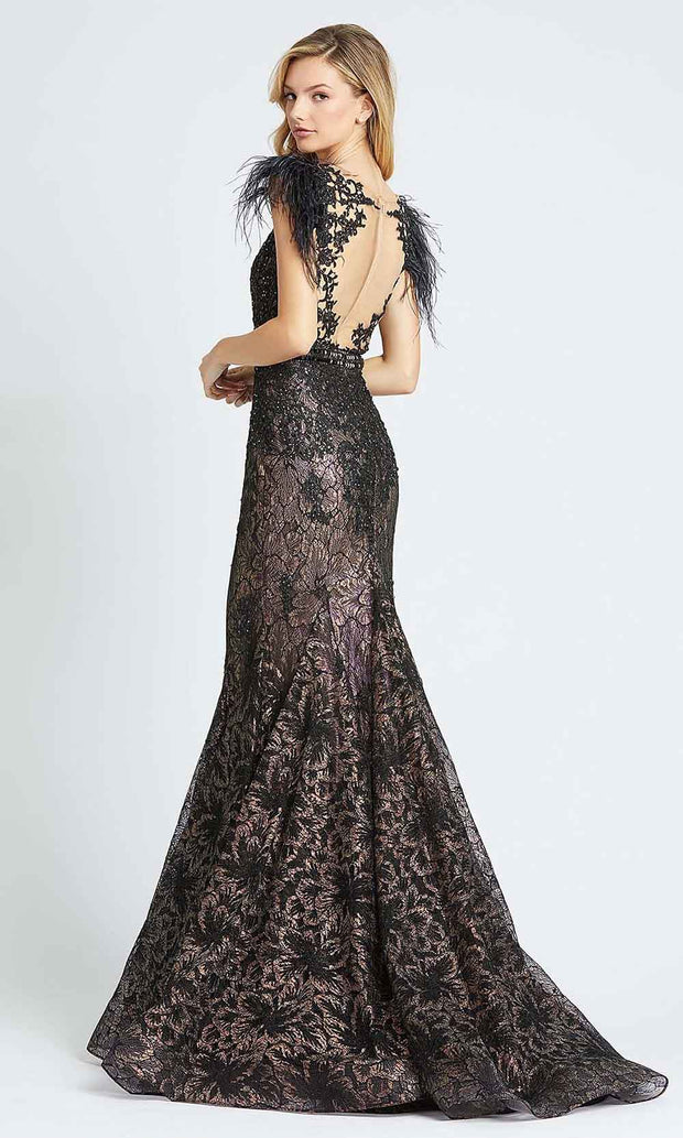 Mac Duggal - 79230M Embroidered Illusion Neck Mermaid Gown In Black