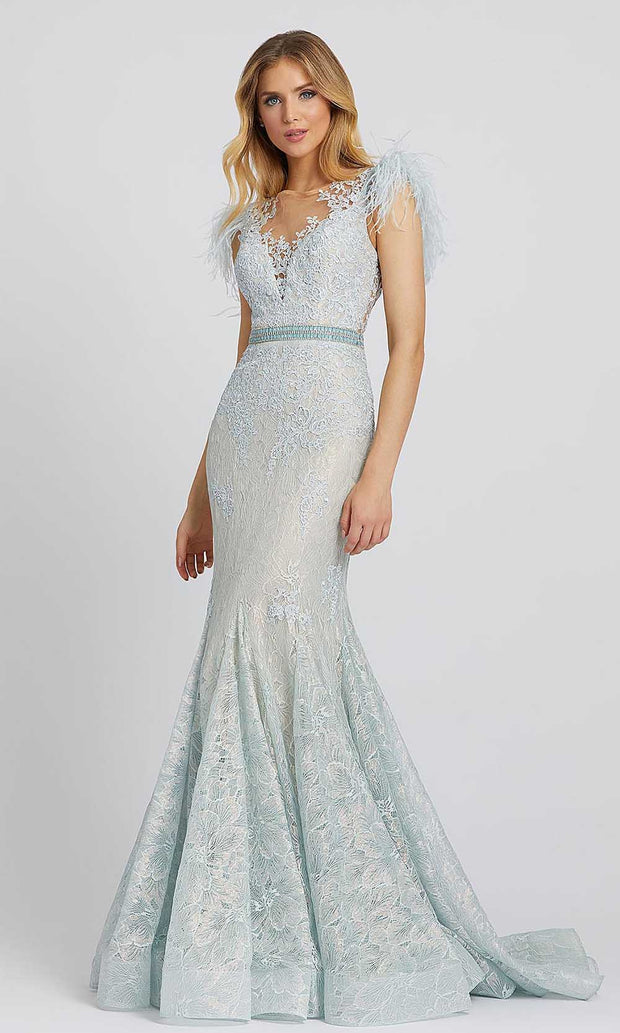 Mac Duggal - 79230M Embroidered Illusion Neck Mermaid Gown In Blue
