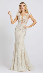 Mac Duggal - 79268D Cap Sleeve Floral Applique Lace Gown In White & Ivory