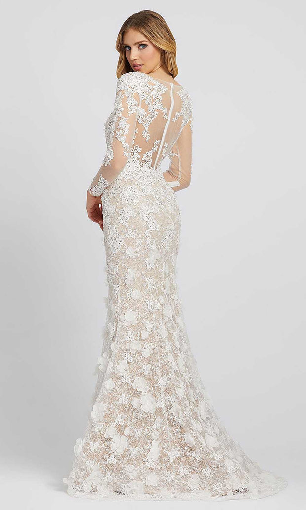Mac Duggal - 79272D Long Sleeve Floral Applique Lace Mermaid Gown In White & Ivory