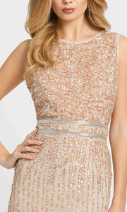 Mac Duggal Evening - 10509D Sleeveless Bedazzled Tea Length Dress in Champagne and Gold