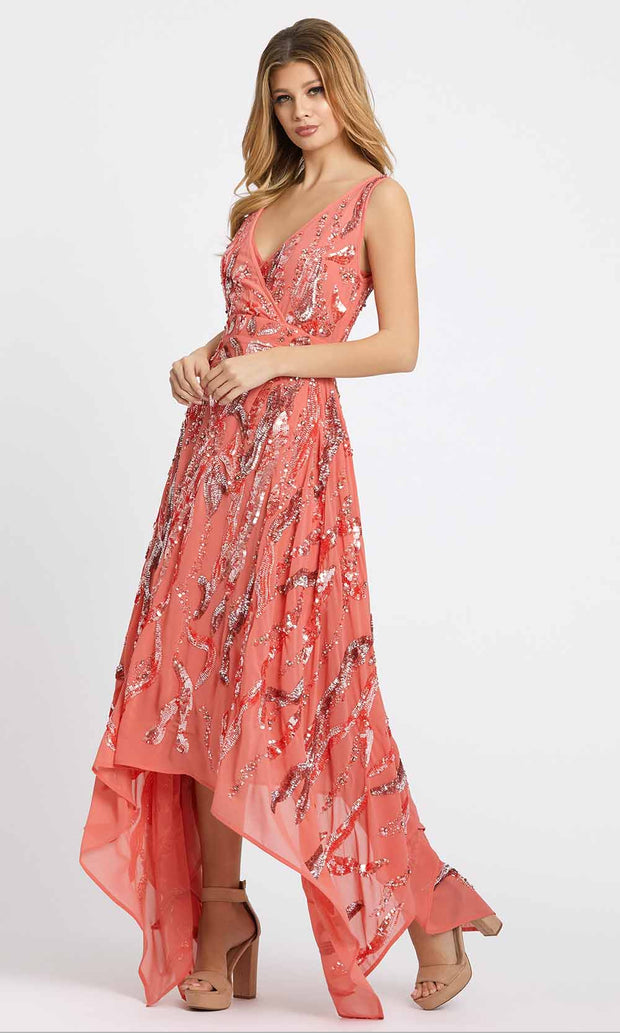 Mac Duggal Evening - 10524D Sequined Plunging V Neck A-Line Dress in Coral and Orange