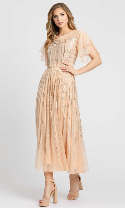 Mac Duggal Evening - 10583D Beaded Cowl Neck Midi A-Line Dress in Nude