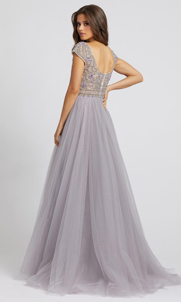 Mac Duggal Evening - 20133D Sheer Bateau Neck Beaded A-Line Gown in Purple