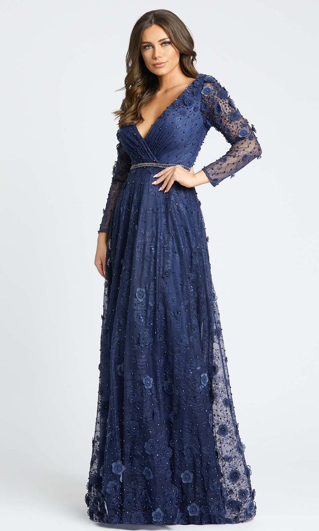 Mac Duggal Evening - 67503D Long Sleeve V-Neck Floral Accent Lace Gown in Blue