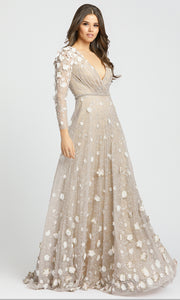 Mac Duggal Evening - 67503D Long Sleeve V-Neck Floral Accent Lace Gown in Neutral