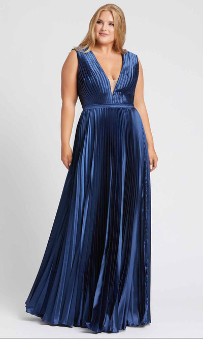 Mac Duggal Fabulouss - 49046F Plunging V Neck Pleated A-Line Gown in Blue