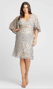 Mac Duggal Fabulouss - 5191F Sequined V Neck Fitted Knee Length Dress in Silver & Gray