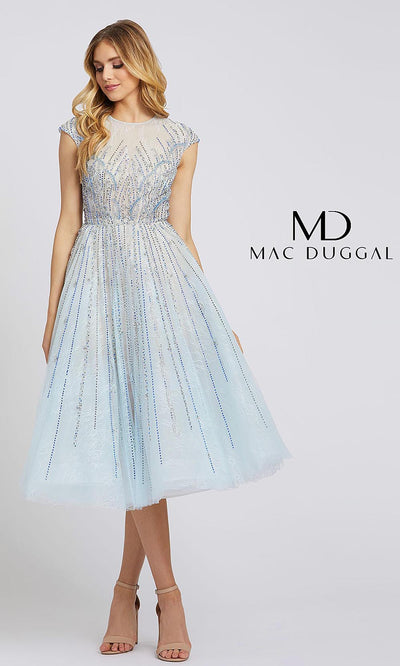MacDuggal 11112D short flowy two tone light blue/nude dress with sequin dress. This midi frock is perfect for grade 8 grad, bridal shower, semi formal, summer wedding dress, rehersal dinner party dress. Plus sizes available