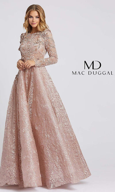 MacDuggal 11121D full length long mocha pink sequin high neck dress with long sleeves. Beaded lace modest dress is perfect for muslim wedding, indowestern gown, mother of bride/groom dress, engagement dress. Light dusty rose  dress comes in plus sizes