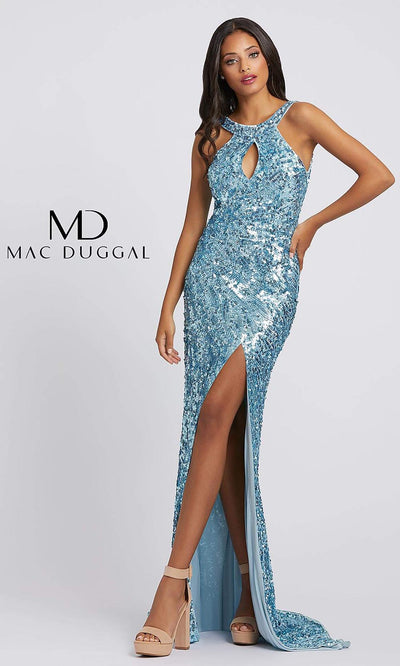 3434A Sequined Halter Neck Sheath Evening Dress