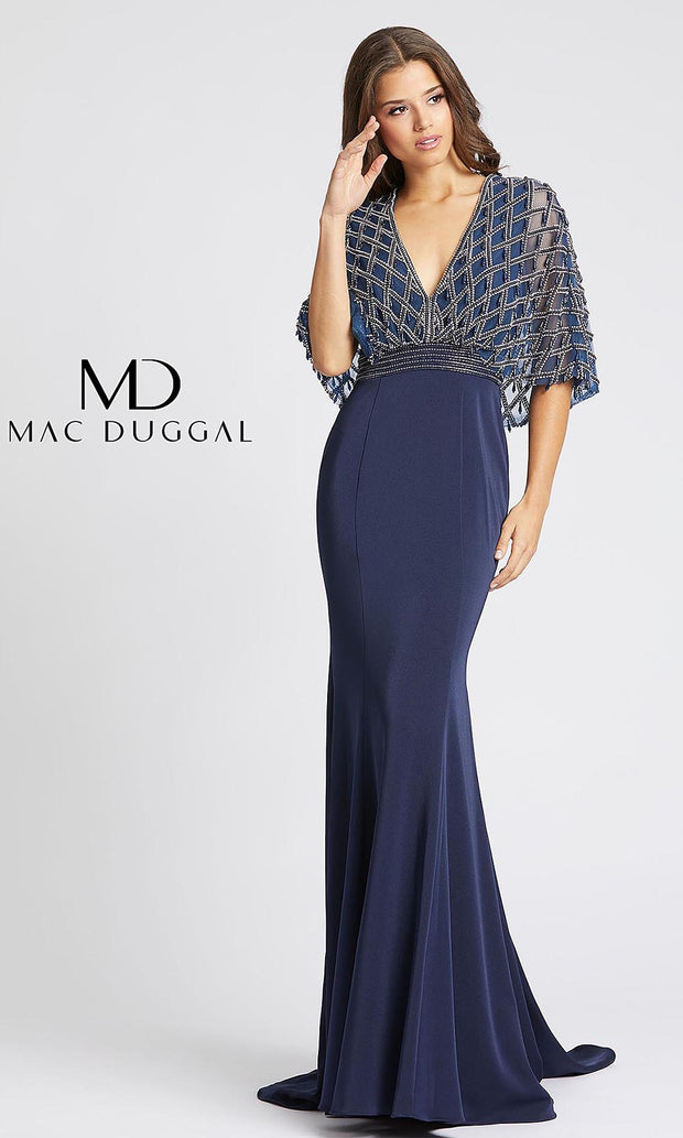 MacDuggal 62925D full length long navy blue sequin v neck dress with a cape & high back. This long dark blue beaded modest dress is perfect for muslim wedding, indowestern gown, mother of bride or groom dress. Dark blue dress comes in plus sizes