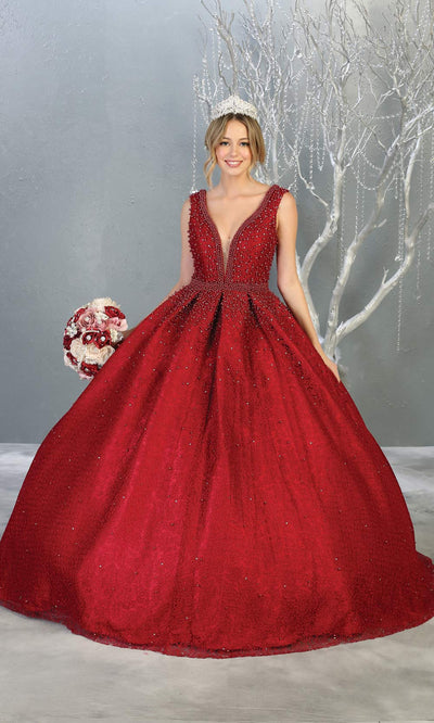 Mayqueen LK112 burgundy red quinceanera ball gown w/ wide straps & pearls. This dark red ball gown is perfect for engagement dress, wedding reception, indowestern party gown, sweet 16, debut, sweet 15, sweet 18. Plus sizes available for red ballgowns