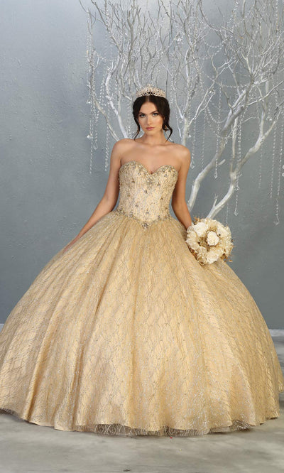 Long Champagne Strapless Ballgown