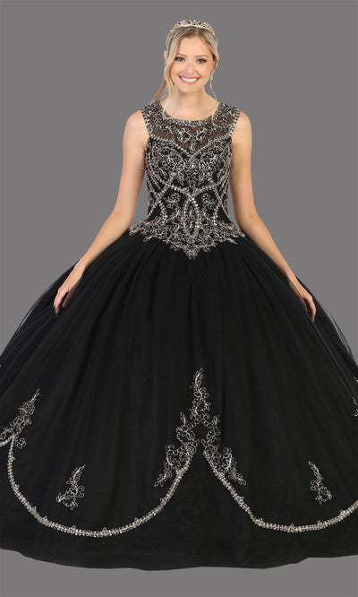 Mayqueen LK130 black quinceanera high neck ball gown w/sequin detail. This black ball gown is perfect for engagement dress, wedding reception, indowestern party gown, sweet 16, debut, sweet 15, sweet 18. Plus sizes available for ballgowns.jpg