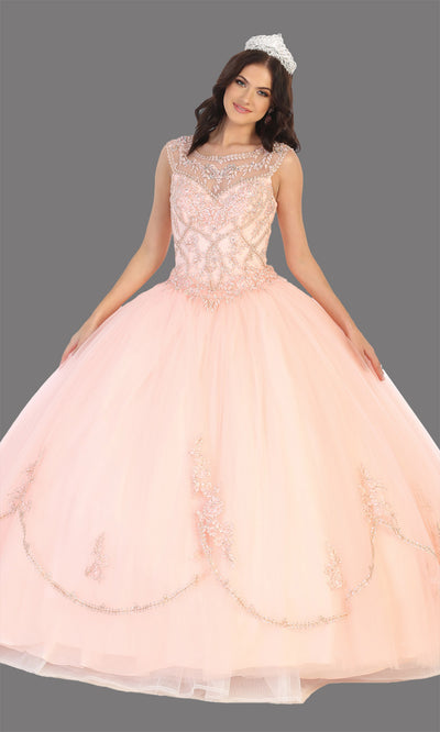Mayqueen LK130 blush pink quinceanera high neck ball gown w/gold sequin detail. Light pink ball gown is perfect for engagement dress, wedding reception, indowestern party gown, sweet 16, debut, sweet 15, sweet 18. Plus sizes available for ballgowns.jpg