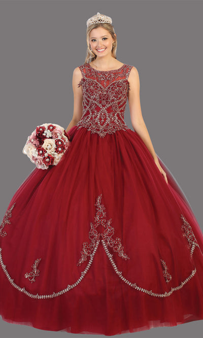 Mayqueen LK130 burgundy red quinceanera high neck ball gown w/sequin detail. Dark red ball gown is perfect for engagement dress, wedding reception, indowestern party gown, sweet 16, debut, sweet 15, sweet 18. Plus sizes available for ballgowns.jpg