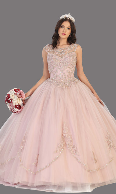 Mayqueen LK130 mauve quinceanera high neck ball gown w/sequin detail. Dusty rose ball gown is perfect for engagement dress, wedding reception, indowestern party gown, sweet 16, debut, sweet 15, sweet 18. Plus sizes available for ballgowns.jpg
