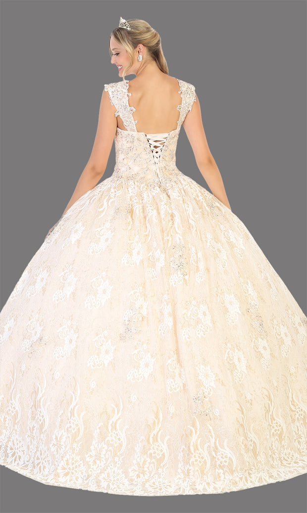 Mayqueen LK131 ivory gold quinceanera high neck ball gown w/sequin detail. Dark red ball gown is perfect for engagement dress, wedding reception, indowestern party gown, sweet 16, debut, sweet 15, sweet 18. Plus sizes available for ballgowns-back.jpg