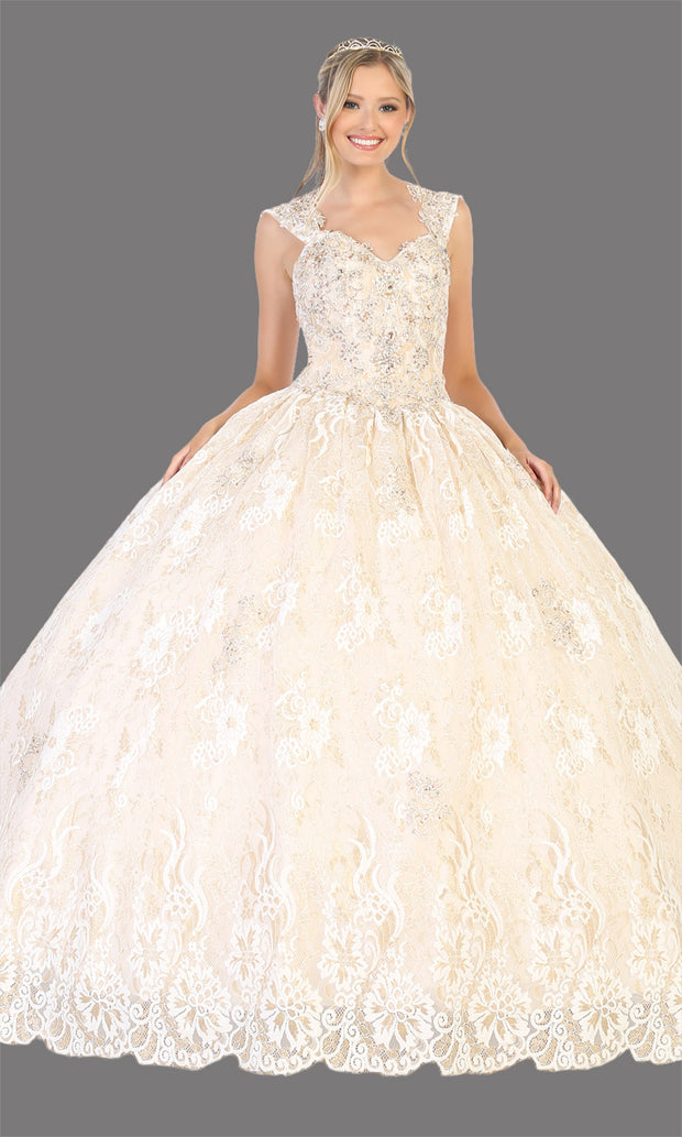 Mayqueen LK131 ivory gold quinceanera high neck ball gown w/sequin detail. Dark red ball gown is perfect for engagement dress, wedding reception, indowestern party gown, sweet 16, debut, sweet 15, sweet 18. Plus sizes available for ballgowns.jpg