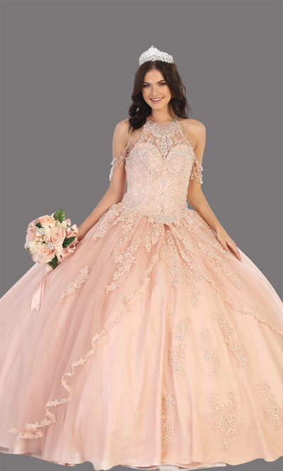 Mayqueen LK133 blush pink quinceanera high neck ball gown w/sequin detail. Light pink ball gown is perfect for engagement dress, wedding reception, indowestern party gown, sweet 16, debut, sweet 15, sweet 18. Plus sizes available for ballgowns.jpg