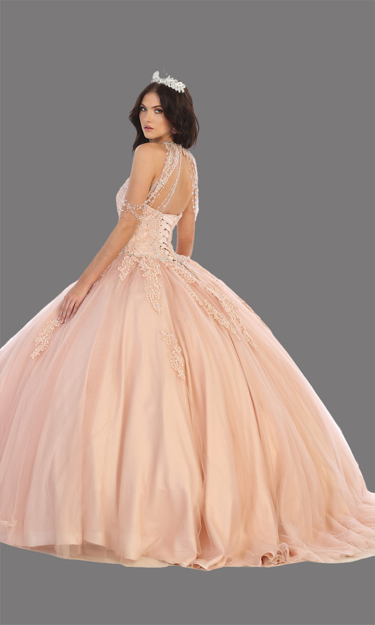 Mayqueen LK133 blush pink quinceanera high neck ball gown w/sequin detail. Light pink ball gown is perfect for engagement dress, wedding reception, indowestern party gown, sweet 16, debut, sweet 15, sweet 18. Plus sizes available for ballgowns-back.jpg