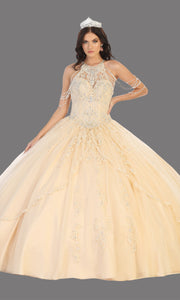Mayqueen LK133 champagne gold quinceanera high neck ball gown w/sequin detail. Light gold ball gown is perfect for engagement dress, wedding reception, indowestern party gown, sweet 16, debut, sweet 15, sweet 18. Plus sizes available for ballgowns.jpg