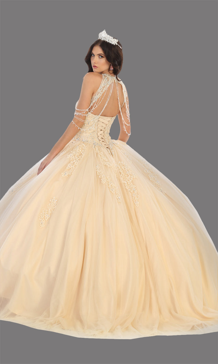Mayqueen LK133 champagne gold quinceanera high neck ball gown w/sequin detail. Light gold ball gown is perfect for engagement dress, wedding reception, indowestern party gown, sweet 16, debut, sweet 15, sweet 18. Plus sizes available for ballgowns-b.jpg