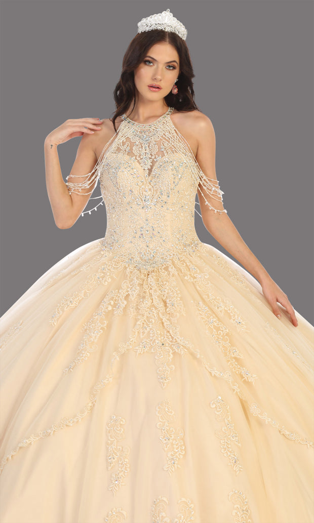 Mayqueen LK133 champagne gold quinceanera high neck ball gown w/sequin detail. Light gold ball gown is perfect for engagement dress, wedding reception, indowestern party gown, sweet 16, debut, sweet 15, sweet 18. Plus sizes available for ballgowns-cup.jpg