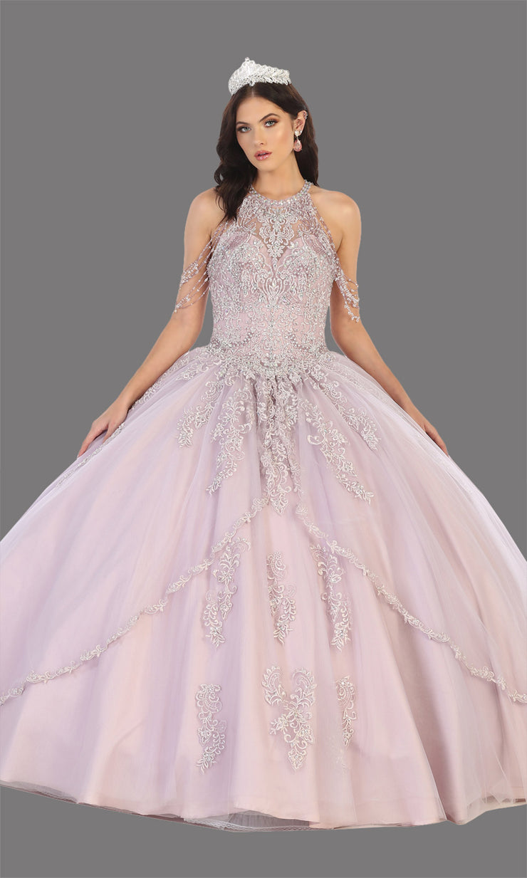 Mayqueen LK133 mauve quinceanera high neck ball gown w/sequin detail. Dusty rose ball gown is perfect for engagement dress, wedding reception, indowestern party gown, sweet 16, debut, sweet 15, sweet 18. Plus sizes available for ballgowns.jpg