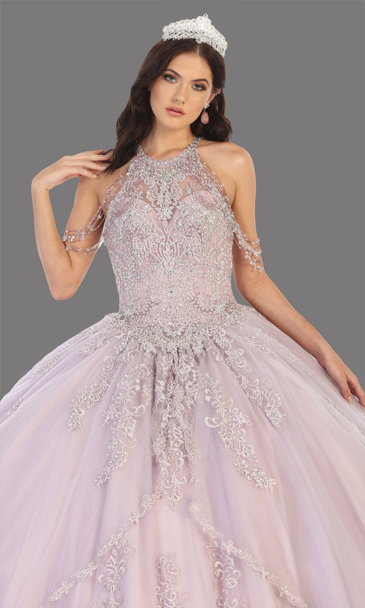 Mayqueen LK133 rose gold quinceanera high neck ball gown w/sequin detail. Rose gold ball gown is perfect for engagement dress, wedding reception, indowestern party gown, sweet 16, debut, sweet 15, sweet 18. Plus sizes available for ballgowns-cup.jpg
