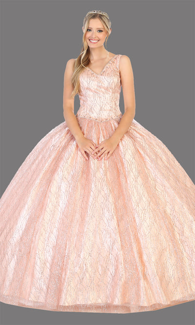 Mayqueen LK134 rose gold quinceanera v neck ball gown w/sequin detail. Rose gold ball gown is perfect for engagement dress, wedding reception, indowestern party gown, sweet 16, debut, sweet 15, sweet 18. Plus sizes available for ballgowns.jpg