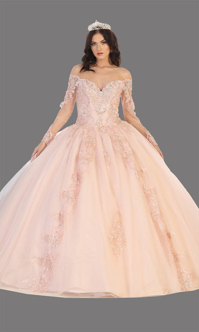 Mayqueen LK135 blush pink quinceanera off shoulder & long sleeves ball gown. Rose gold sequin ball gown is perfect for engagement dress, wedding reception, indowestern party gown, sweet 16, debut, sweet 15, sweet 18. Plus sizes available for ballgowns.jpg