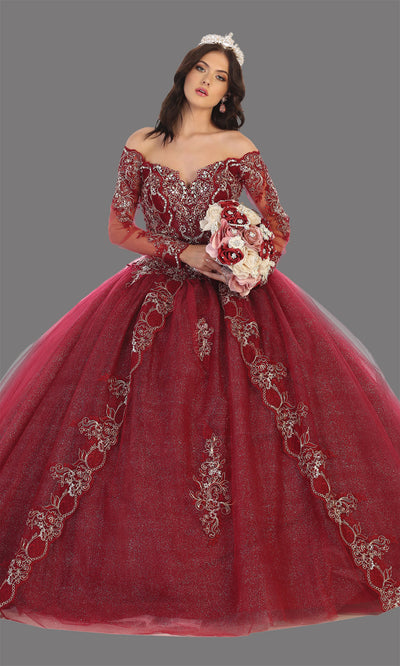 Mayqueen LK135 burgundy quinceanera off shoulder & long sleeves ball gown. Dark red sequin ball gown is perfect for engagement dress, wedding reception, indowestern party gown, sweet 16, debut, sweet 15, sweet 18. Plus sizes available for ballgowns.jpg