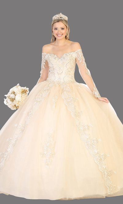 Mayqueen LK135 champagne quinceanera off shoulder & long sleeves ball gown. Light gold sequin ball gown is perfect for engagement dress, wedding reception, indowestern party gown, sweet 16, debut, sweet 15, sweet 18. Plus sizes available for ballgowns.jpg