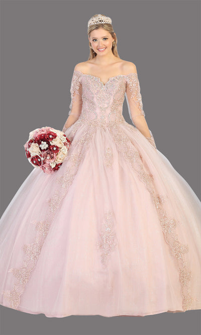 Mayqueen LK135 mauve quinceanera off shoulder & long sleeves ball gown. Dusty rose sequin ball gown is perfect for engagement dress, wedding reception, indowestern party gown, sweet 16, debut, sweet 15, sweet 18. Plus sizes available for ballgowns.jpg