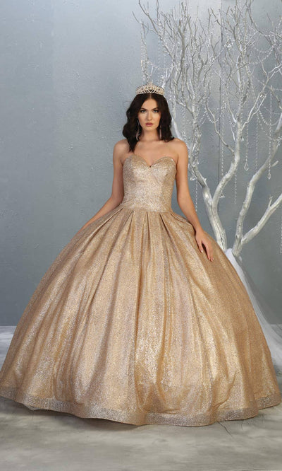Mayqueen LK138 champagne gold quinceanera metallic shiny ballgown. This strapless light gold ball gown is perfect for engagement dress, wedding reception, indowestern party gown, sweet 16, debut, sweet 15, sweet 18. Plus sizes available for ballgowns